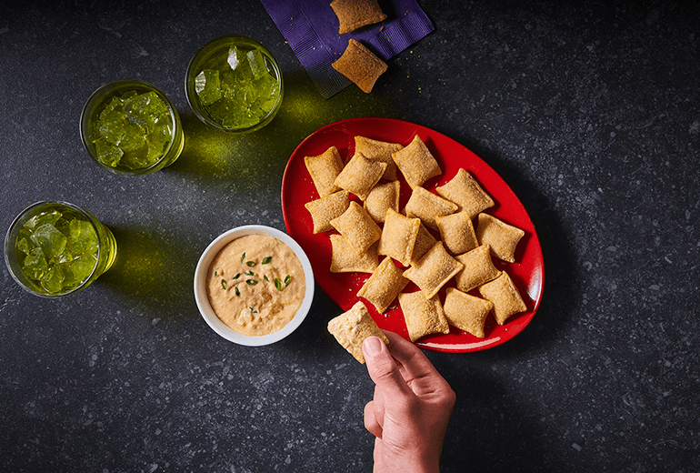 Buffalo Cheese Dip and Pizza Rolls